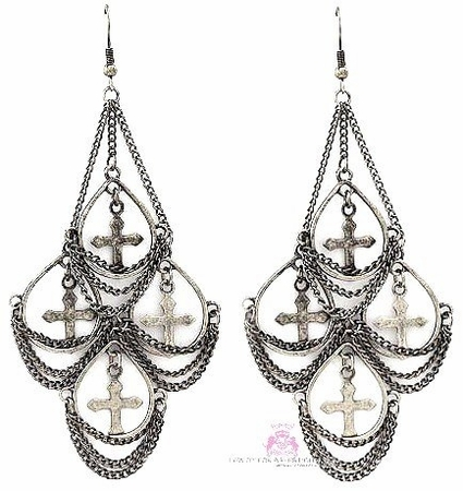 Multi Cross Vintage Old World Chandelier Earrings