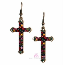 Multicolor Crystal Antique Goldtone Rustic Cross Earrings