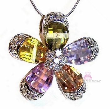 Outstanding Giant Petals Multicolor Cz Flower Necklace