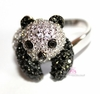 Panda Teddy Bear Cute Black White Cubic Zirconia Ring