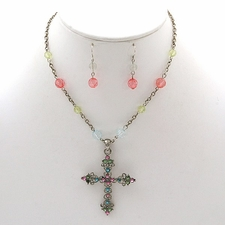 Peach Lime Blue Beaded  Ornate Cross Necklace Earrings Set