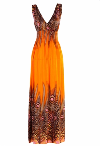 Petit Womens Fire Orange Bohemian Peacock Sleeveless Sun Tank Dress