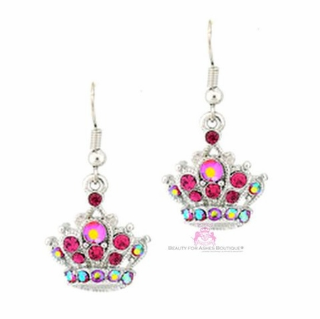 Pink Aurora Borealis Crystal Princess Crown Earrings