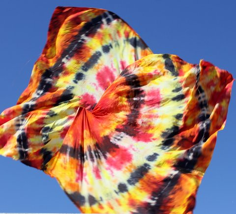 Silk Hand-Dyed Praise Banner Worship Wild Fire Tie Dye Swing Flags by Caleb Brundidge