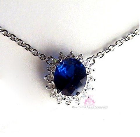 Princess Wedding Engagement Oval Sapphire Blue CZ Celebrity Necklace