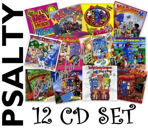 Psalty's KIDS PRAISE! and CHRISTIAN WORSHIP CD SET of 12!