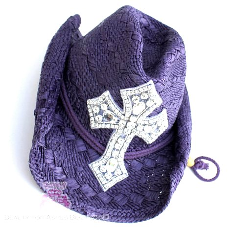 Purple Clear Crystal Bling Cross Western Christian Cowboy Cowgirl Hat