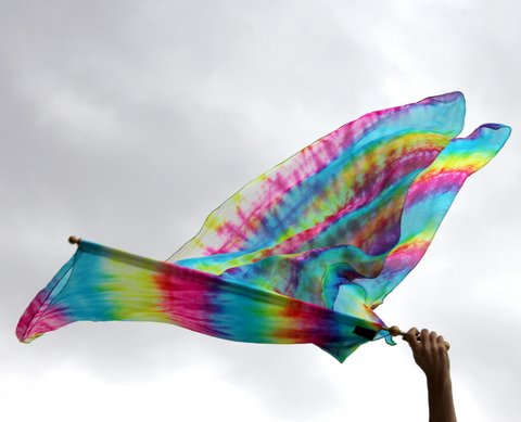 Rainbow Tye Dye 100% Silk Double Layer Butterfly Wing Worship Flag