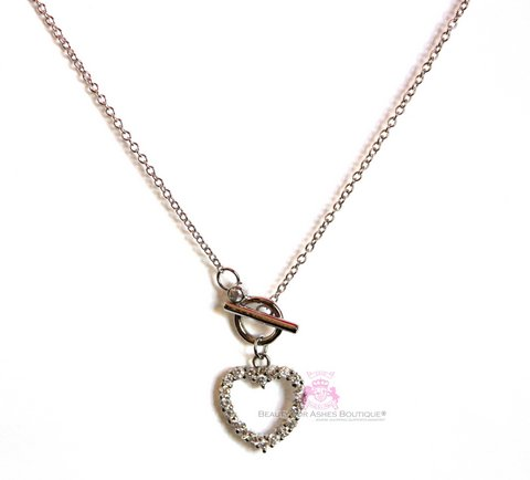 Ring & Toggle Open Heart Cubic Zirconia Necklace