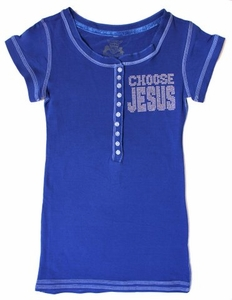 Royal Blue Henley Ab Stones Choose Jesus Be Saved T-Shirt