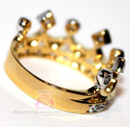 Two Tone Princess Cubic Zirconia Accent Crown of Life Ring