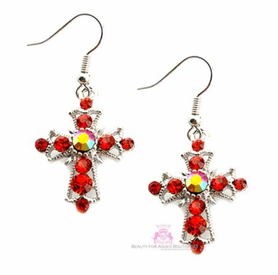 Ruby Red Aurora Borealis Small Cross Earrings