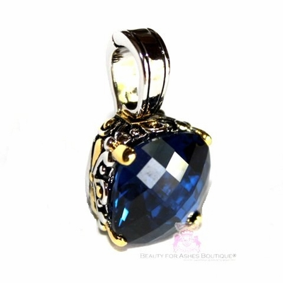 Beauty for Ashes Sapphire Blue CZ Checkerboard Cut Pendant - Clasp Opens
