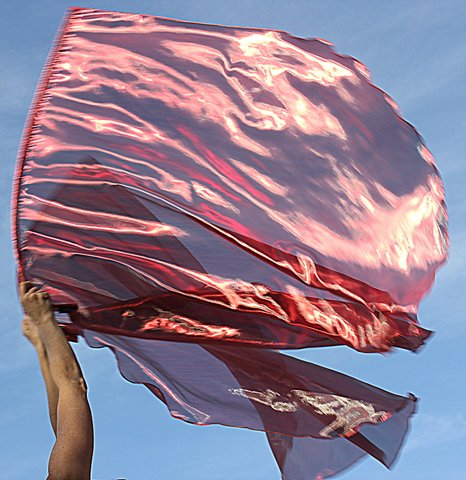 Semi Sheer Metallic Red Burning Fire Prophetic Dance Worship Flags Set of 2 with FlexTM Rods