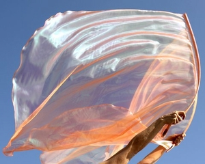 Sheer Iridescent Orange Holy Spirit Fire Prophetic Dance Worship Flags Set of 2 w/Flex� Rods
