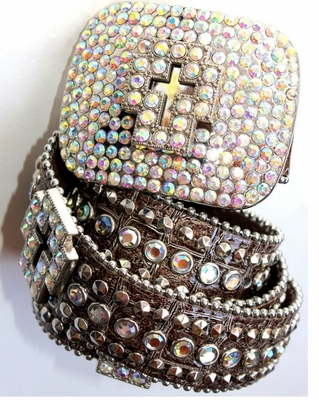 SILVER CROSS BELT BUCKLE AURORA BOREALIS CRYSTALS