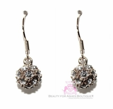 Silvertone Sphere Ball Crystal Clear Drop Bridal Prom Glam Earrings
