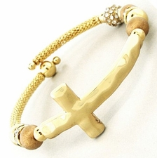Single Coil Golden Beaded Cross Adjustable Bracelet