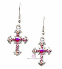 Small Pink Aurora Borealis Crystal Cross Dangle Earrings