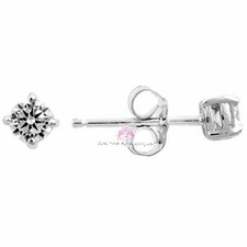 Sterling Silver Clear Cubic Zirconia Cz Stud Earrings