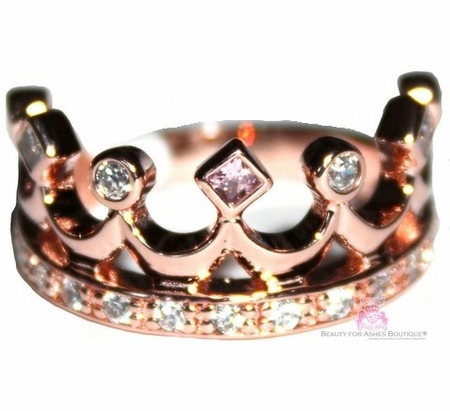 Sterling Silver Princess Crown Ring Pink Clear Cz Rosegold Ring