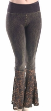 T Party Mineral Wash Rustic Brown Lace Bottoms Flare Stretch Leggings Pants