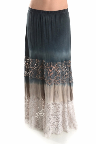 T Party Rustic Lace Color Block Vintage Maxi Skirt Black Cream Off White