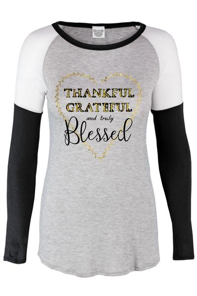 Thankful Grateful and Truly Blessed Gold Foil Heart Baseball Long Sleeve Women's Top S M L