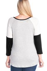 Thankful Grateful and Truly Blessed Plus Size Gold Foil Heart Color Block Black 3/4 Sleeve