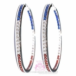 USA American Independence Day Patriot Red White Blue Cz Hoop Earrings