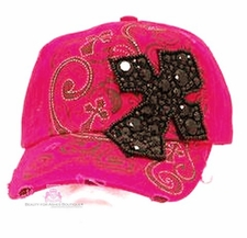 VINTAGE HOT PINK INSPIRATIONAL BLACK BLING CROSS CAP HAT