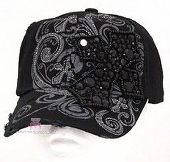 VINTAGE INSPIRATIONAL FAITH BLACK BLING CROSS CAP HAP