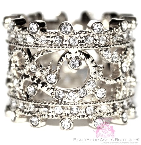 Vintage Style Band Crown Princess Majesty Filigree Ring