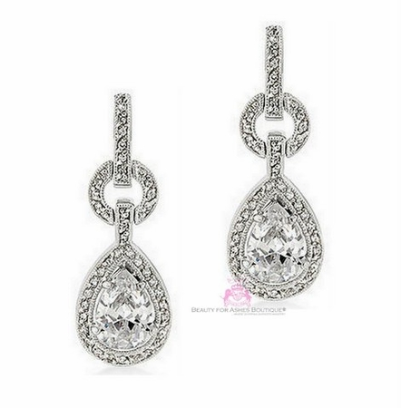 Wedding Teardrop Clear Cubic Zirconia Cz Post Earrings