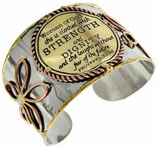 Woman of God Clothed with Strength and Dignity Proverbs 31 Cuff Bracelet
