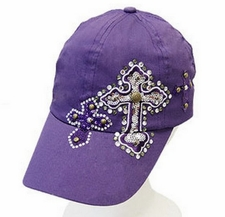 WOMENS 100% COTTON WHITE DECORATIVE CROSS CAP Purple/White Choice