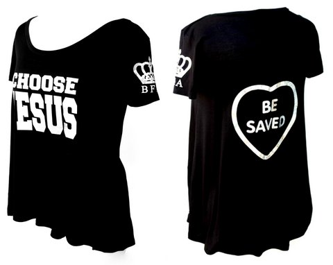 Womens Black Holographic Choose Jesus Be Saved Flowy T Shirt