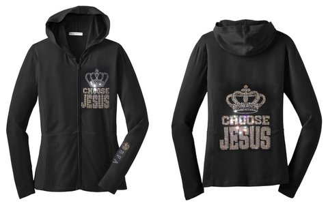 Womens Choose Jesus Embellished Crown Black Hoodie Jacket