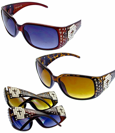 Womens Cross Bling Rhinestone Sunglasses