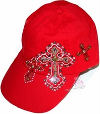 Womens Cross Cotton Bling Inspirational Red Cap Hat