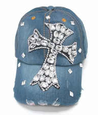 Womens Girls Bling Cross Crystal Rhinestone Denim Cap