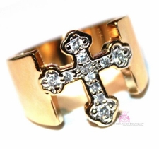 Womens Gold Plated Band Divine Mini Clear Pave Cz Cross Ring