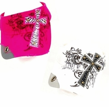 WOMENS INSPIRATIONAL ZEBRA PRINT CROSS VISOR COLOR CHOICE