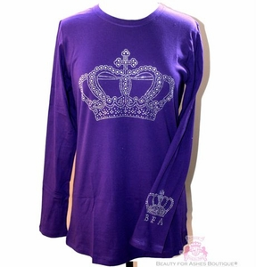 Womens Ladies Crown Crystal Embellishment T Shirt