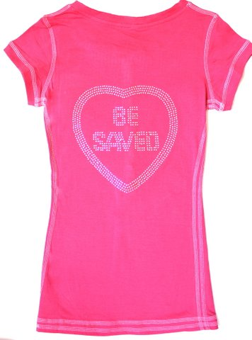 Juniors Button Up Henley Stretch T-Shirt Choose Jesus Be Saved