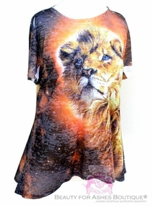 Womens Plus Size Lion of Judah Flowy Orange Print Short Sleeve Top