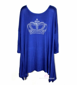 Womens Royalty Crystal Crown Queen Handkerchief Long Back Sleeve Top All Sizes