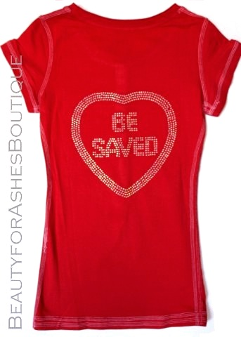 Juniors Red Henley Choose Jesus Be Saved Button Shirt