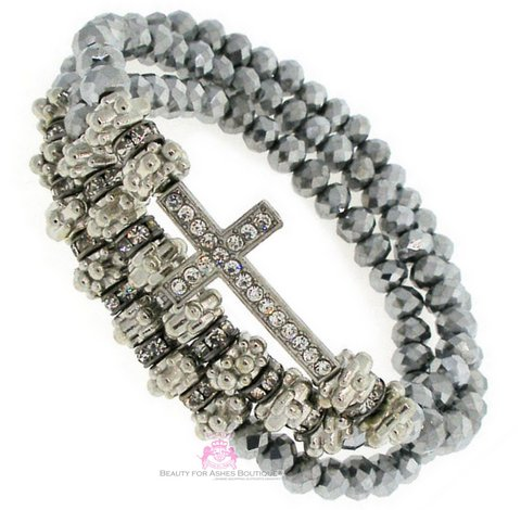 Wrap Around Cross Faceted Silver Crystal Bead Stretch Bracelet