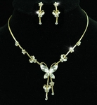 Butterfly Crystal Necklace and Earring Set